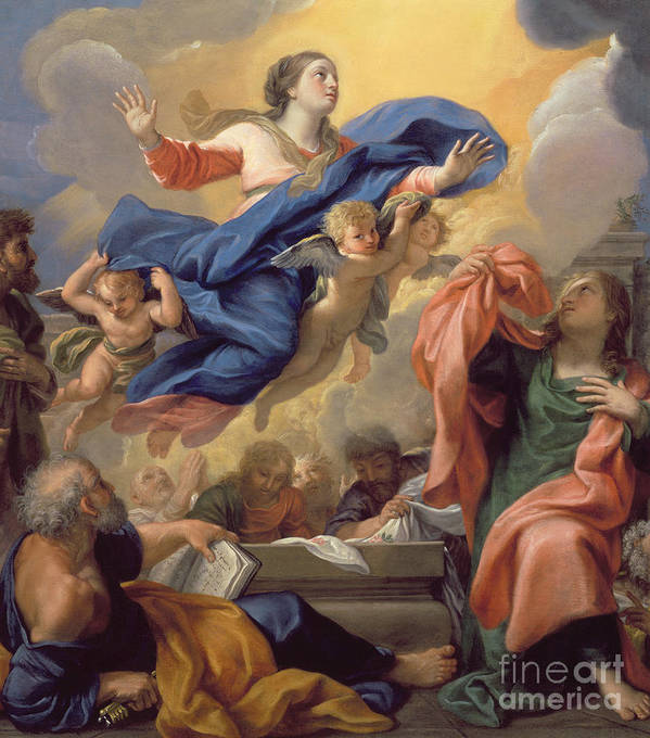 The Poster featuring the painting The Assumption Of The Virgin by Guillaume Courtois
