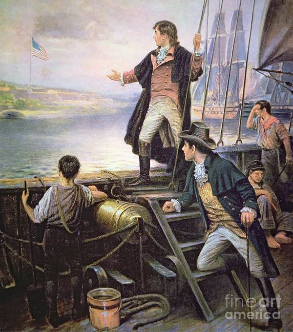 Male; American; Ship; Port; American Flag; Victory; Inspiration; Inspired; Us; Usa; American National Anthem Poster featuring the painting The Birth Of The Us National Anthem by American School