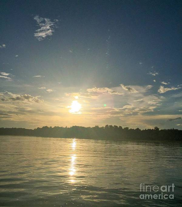 Sunset Poster featuring the photograph There's My Blue Orb by Linda Dautorio