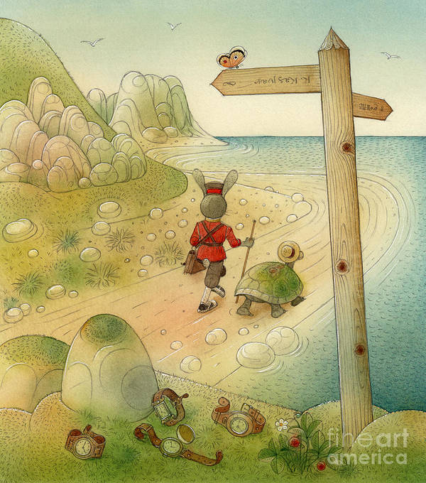 Sea Sky Green Blue Stones Rocks Turtle Rabbit Landscape Poster featuring the painting Turtle And Rabbit07 by Kestutis Kasparavicius