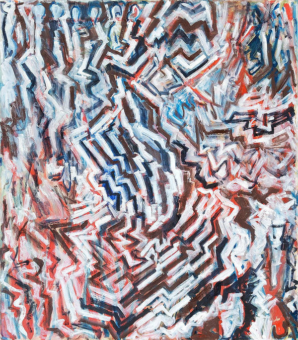 Abstract White Red Brown Blue Layered Pattern Poster featuring the painting Heart Of Slate by Joan De Bot