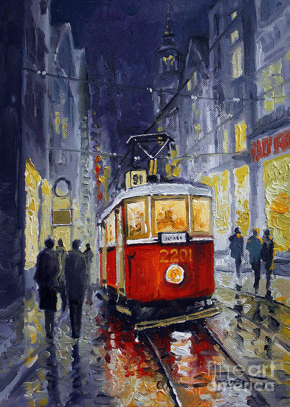 Oil Poster featuring the painting Prague Old Tram 06 by Yuriy Shevchuk