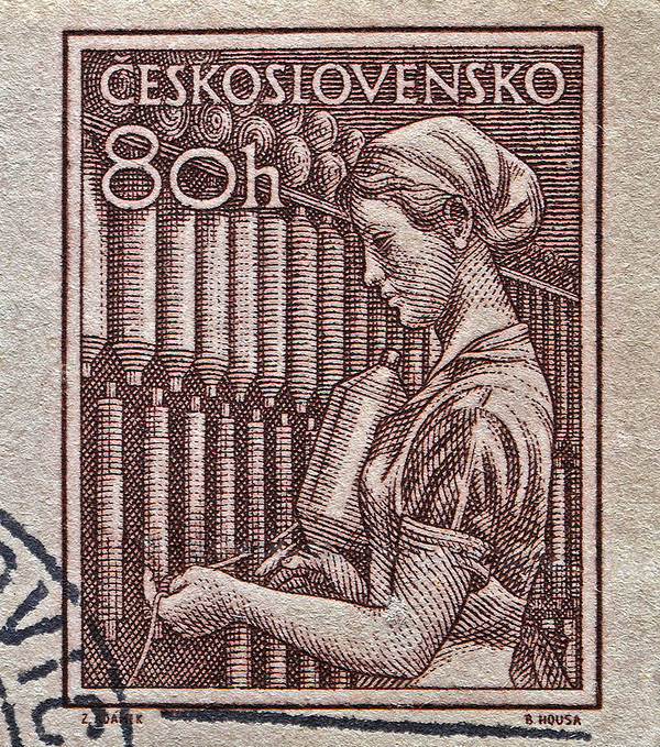 1954 Poster featuring the photograph 1954 Czechoslovakian Textile Worker Stamp by Bill Owen