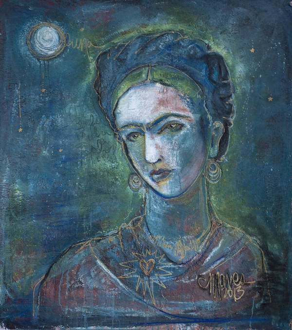 Frida Kahlo Poster featuring the painting Burn It Blue Frida by Laurie Maves ART