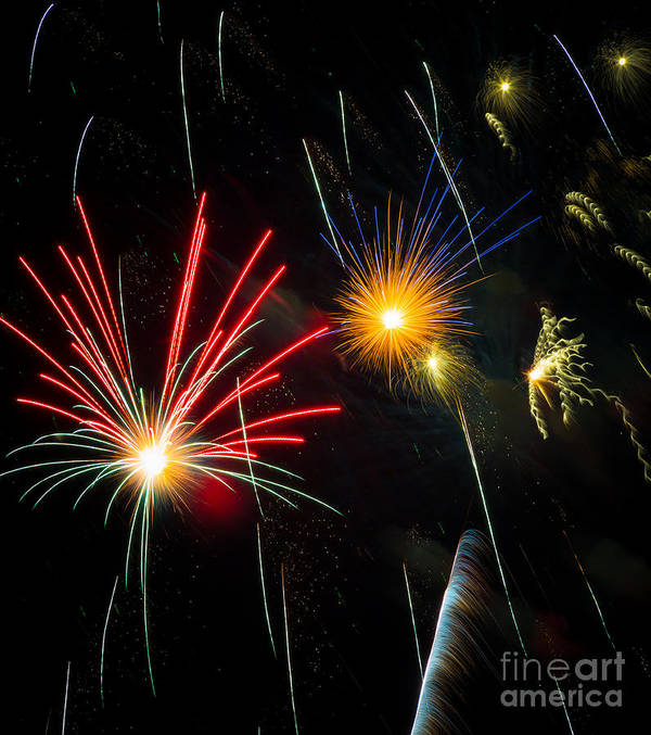 Addison Poster featuring the photograph Cosmos Fireworks by Inge Johnsson