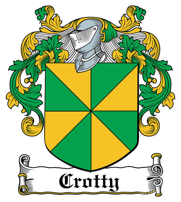 Crotty Poster featuring the digital art Crotty Coat Of Arms Irish by Heraldry