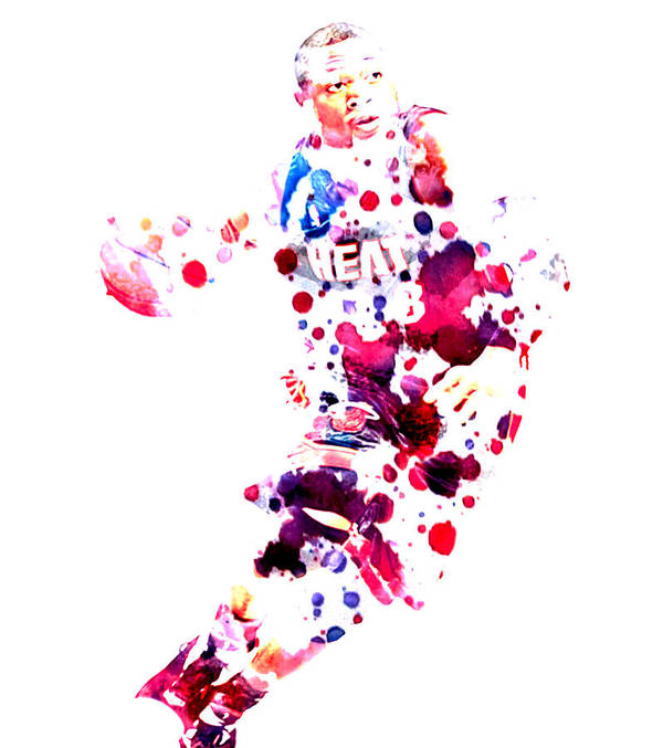 Dwyane Wade Poster featuring the painting D Wade by Brian Reaves