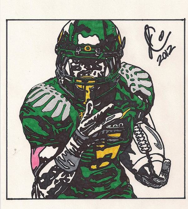 Oregon Ducks Drawings Poster featuring the drawing De'anthony Thomas by Jeremiah Colley