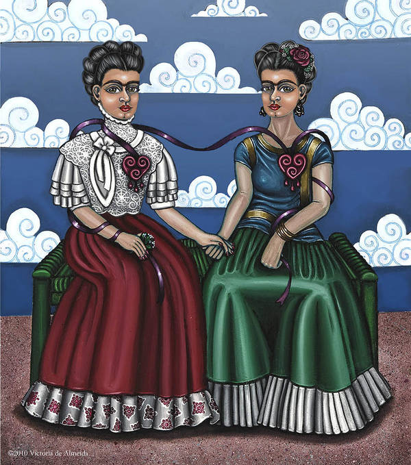 Hispanic Folk Art Poster featuring the painting Frida Beside Myself by Victoria De Almeida