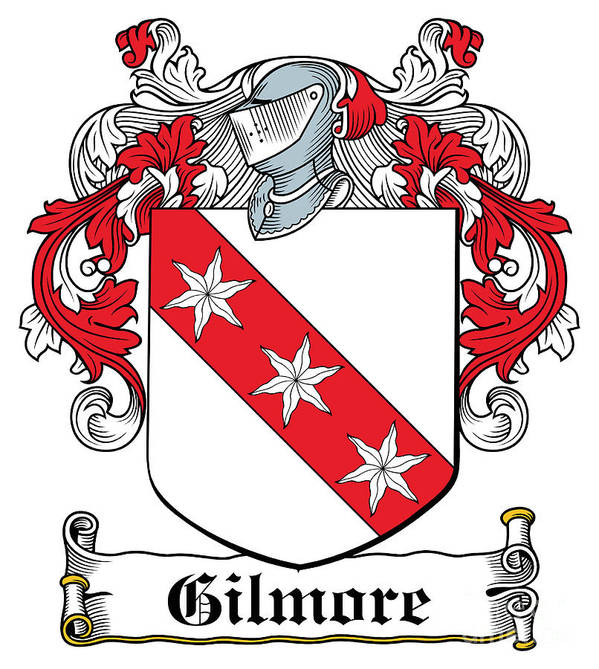 Gilmore Poster featuring the digital art Gilmore Coat Of Arms Irish by Heraldry