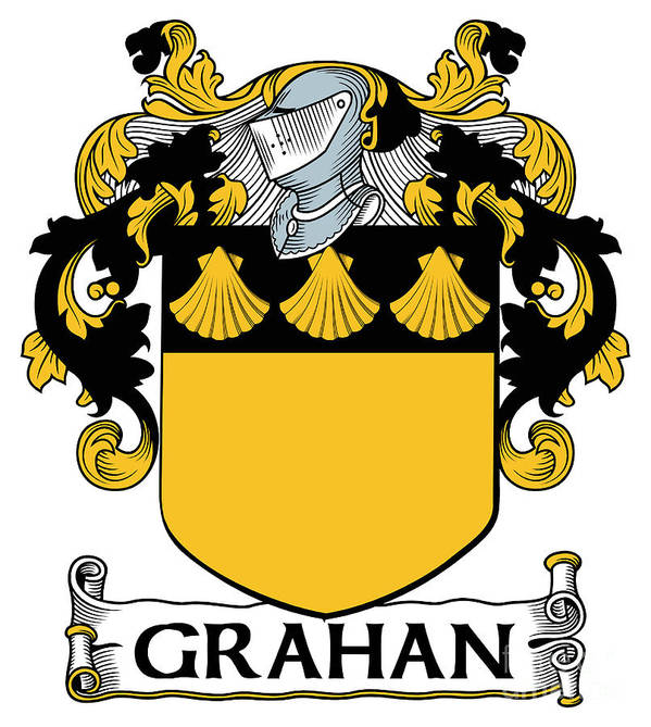 Grahan Poster featuring the digital art Grahan Coat Of Arms Irish by Heraldry