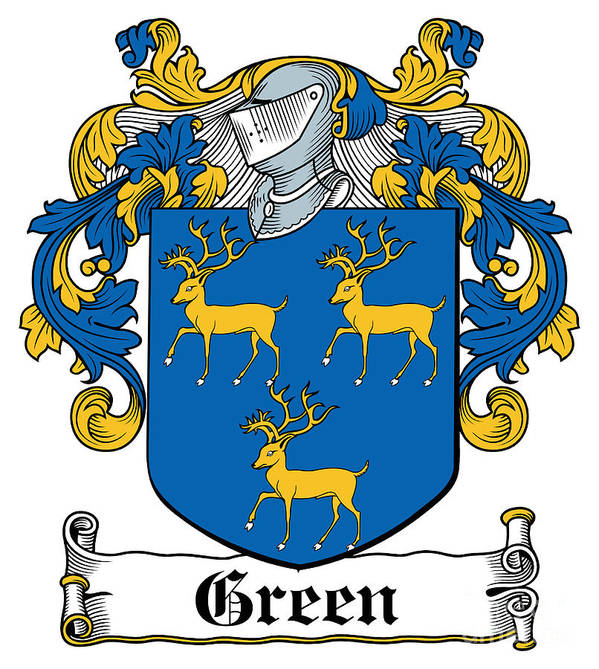 Green Poster featuring the digital art Green Coat Of Arms Irish by Heraldry