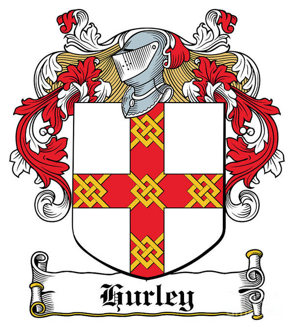Hurley Poster featuring the digital art Hurley Coat Of Arms Munster Ireland by Heraldry