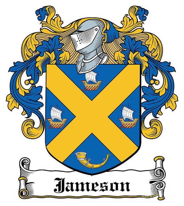 Jameson Poster featuring the digital art Jameson Coat Of Arms Galway Ireland by Heraldry