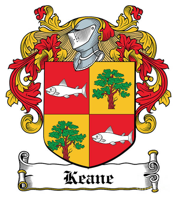 Keane Poster featuring the digital art Keane Coat Of Arms Clare Ireland by Heraldry
