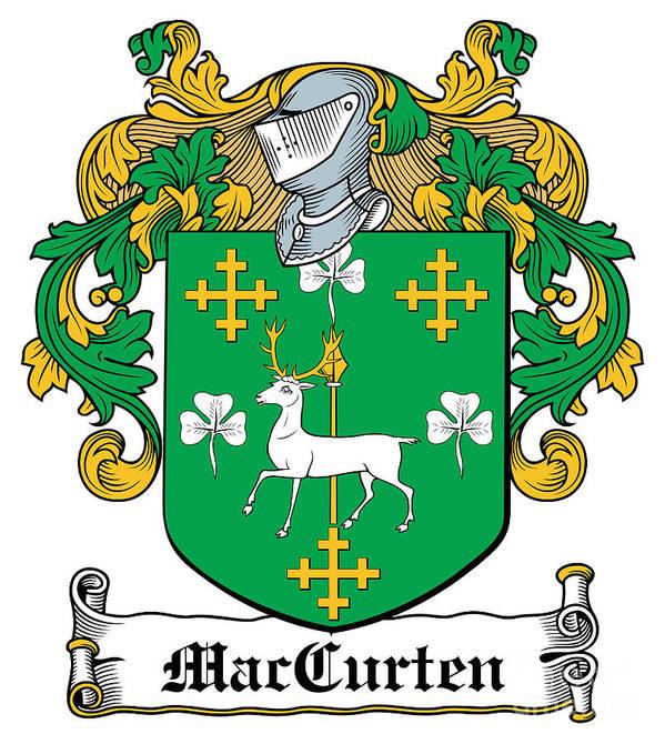 Maccurten Poster featuring the digital art Maccurten Coat Of Arms Irish by Heraldry