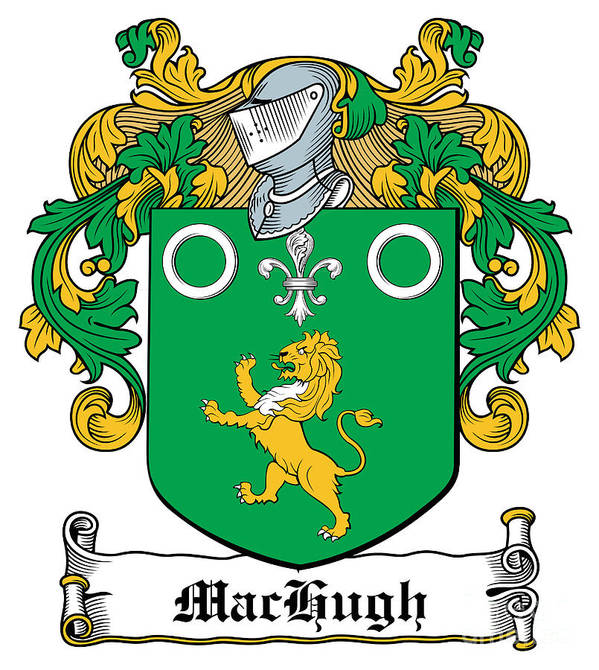 Machugh Poster featuring the digital art Machugh Coat Of Arms Irish by Heraldry