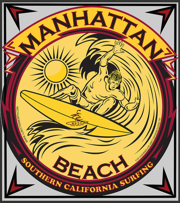 Sports Poster featuring the digital art Manhattan Beach California Surfing by Larry Butterworth