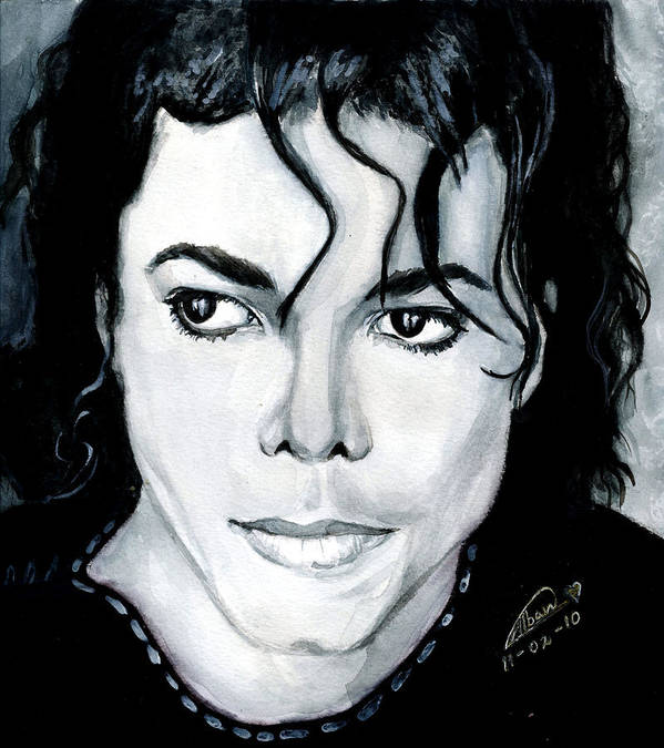 Michael Jackson Poster featuring the painting Michael Jackson Portrait by Alban Dizdari