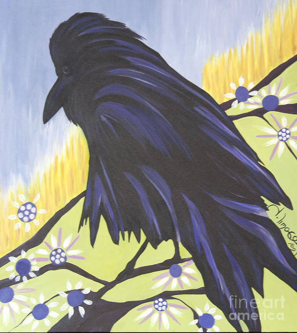 #raven Poster featuring the painting Reflection by Jacquelinemari