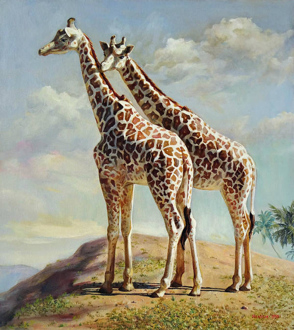 Giraffe Poster featuring the painting Romance In Africa - Love Among Giraffes by Svitozar Nenyuk