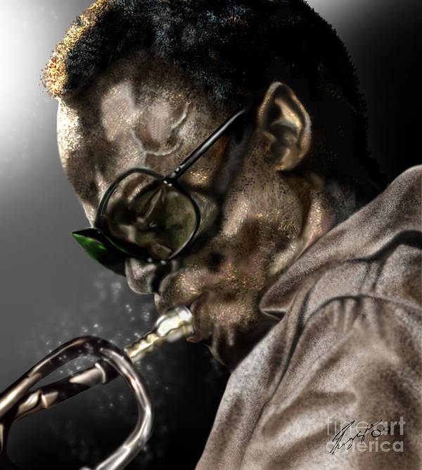 Miles Davis Poster featuring the painting Simply Miles by Reggie Duffie