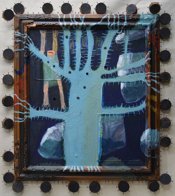 Abstract Modern Outsider Raw Folk Blue Tree Arms Legs Thorns Figure Limb Limbs Reaching Holes Clouds Kids Bare Feet Barefooted Ouch Mouth Problems Fun Humorous Composition Cool Poster featuring the painting Sticker Tree - Framed by Nancy Mauerman