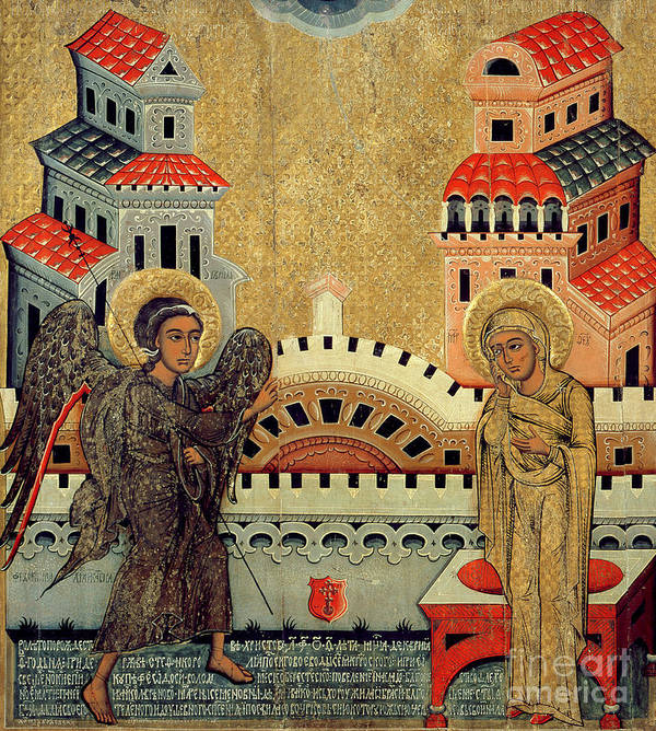 Virgin Mary; Madonna; Archangel Gabriel; Announcing; Russian Icon; Stylised; Gold Leaf; Byzantine Poster featuring the painting The Annunciation by Fedusko of Sambor