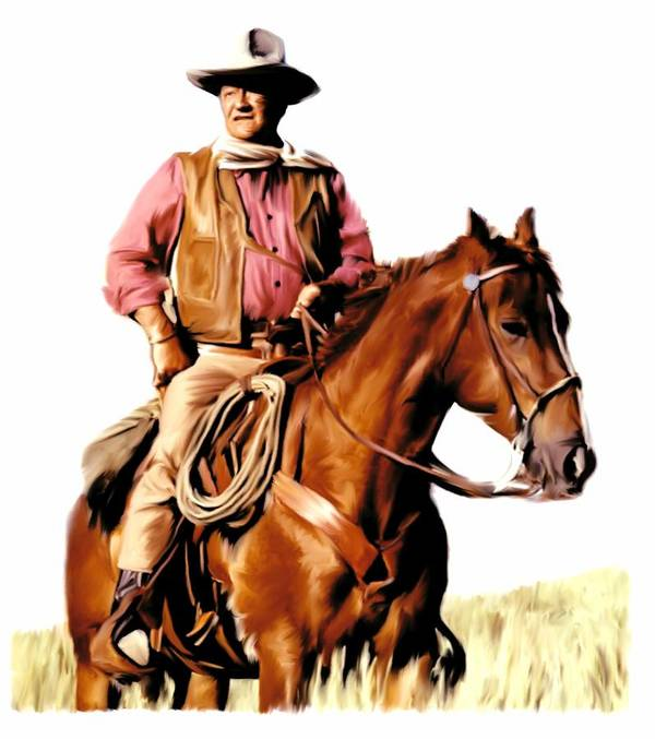 John Wayne Poster featuring the painting The Duke John Wayne by Iconic Images Art Gallery David Pucciarelli
