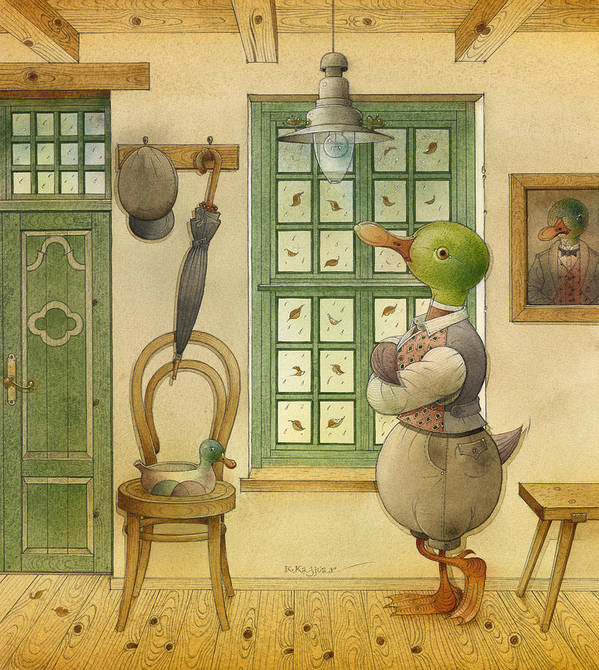 Duck Animals Autumn Green Rain Holiday Poster featuring the painting The Shaky Knight 03 by Kestutis Kasparavicius