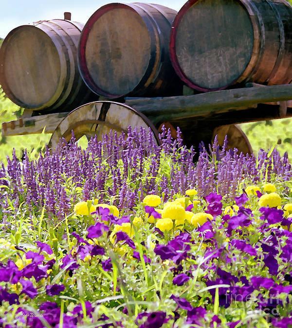 Wine Barrels At V Sattui Napa Valley Poster featuring the digital art Wine Barrels At V. Sattui Napa Valley by Michelle Wiarda