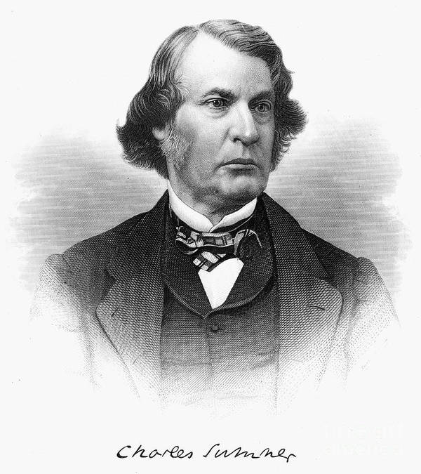 19th Century Poster featuring the photograph Charles Sumner (1811-1874) by Granger