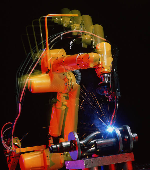 Computer Controlled Robot Poster featuring the photograph Computer-controlled Electric Arc-welding Robot by David Parker, 600 Group Fanuc