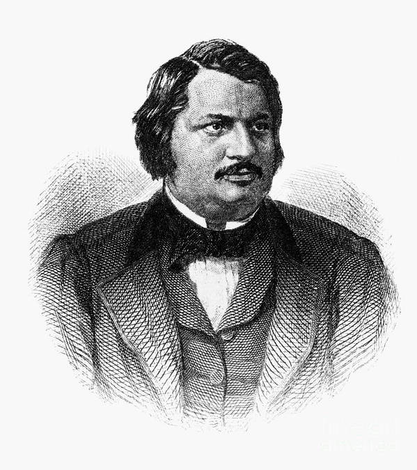 19th Century Poster featuring the photograph Honore De Balzac (1799-1850) by Granger