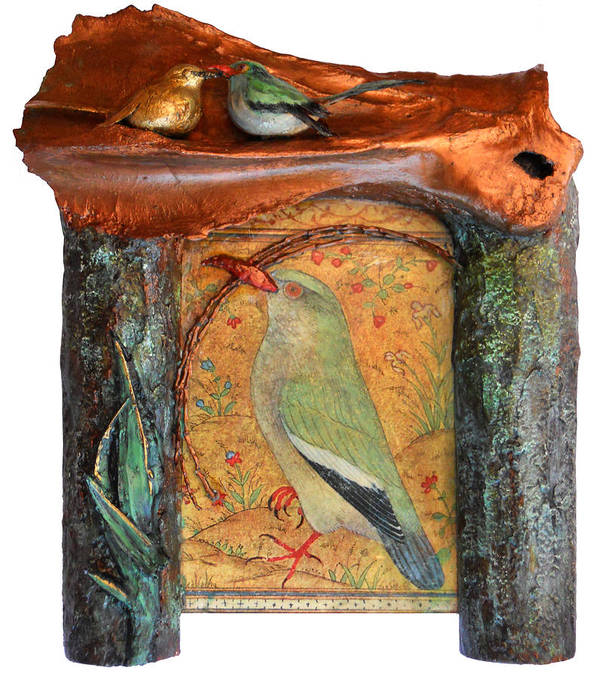 Birds Poster featuring the mixed media Indian Bird by Karen LeCocq