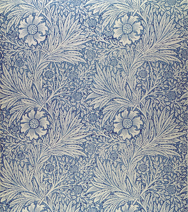 Arts And Crafts Movement; Floral; Pattern; Marigolds Poster featuring the tapestry - textile Marigold Wallpaper Design by William Morris