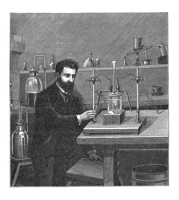 Henri Moissan Poster featuring the photograph Moissan Isolating Fluorine, 1886 by Mehau Kulyk