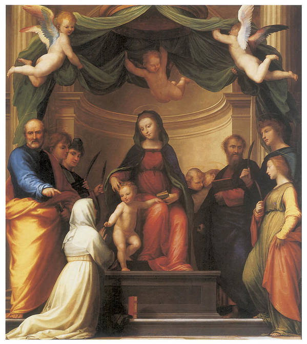 Fra Bartolomeo Poster featuring the painting The Mystical Marriage Of Saint Catherine by Fra Bartolomeo