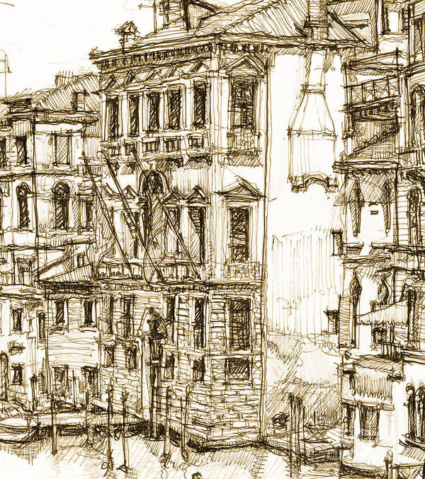Venice Poster featuring the drawing Venice Canals Detail 1 by Adendorff Design