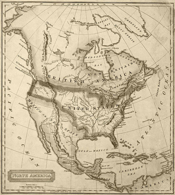 1822 Map Of North America Sepia Poster by Toby McGuire