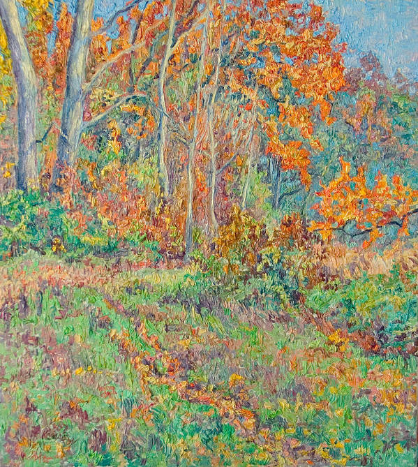 Autumn Poster featuring the painting Autumn Forest Path by Vitali Komarov