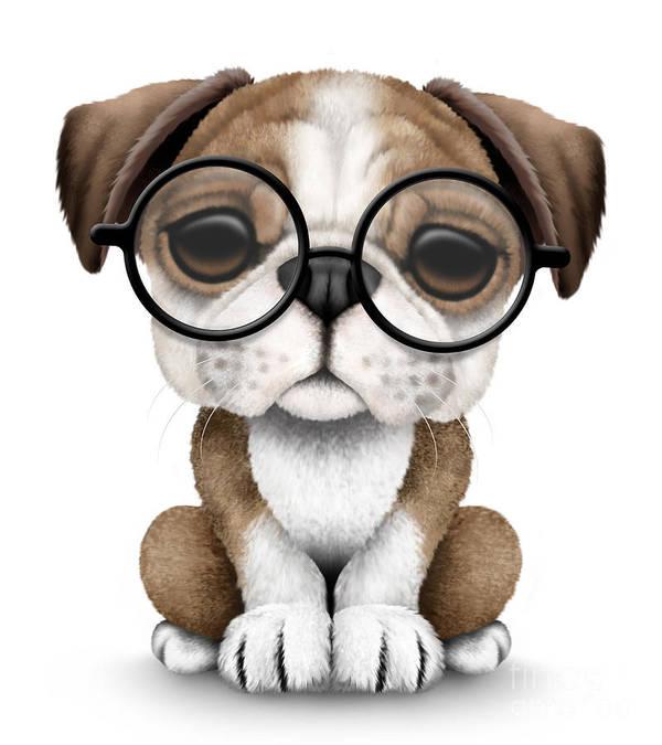 Cute English Bulldog Puppy Wearing Glasses Poster