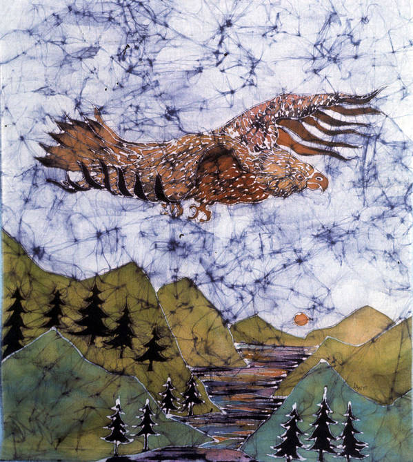 Eagle Poster featuring the tapestry - textile Eagle Flies Above Gorge by Carol Law Conklin