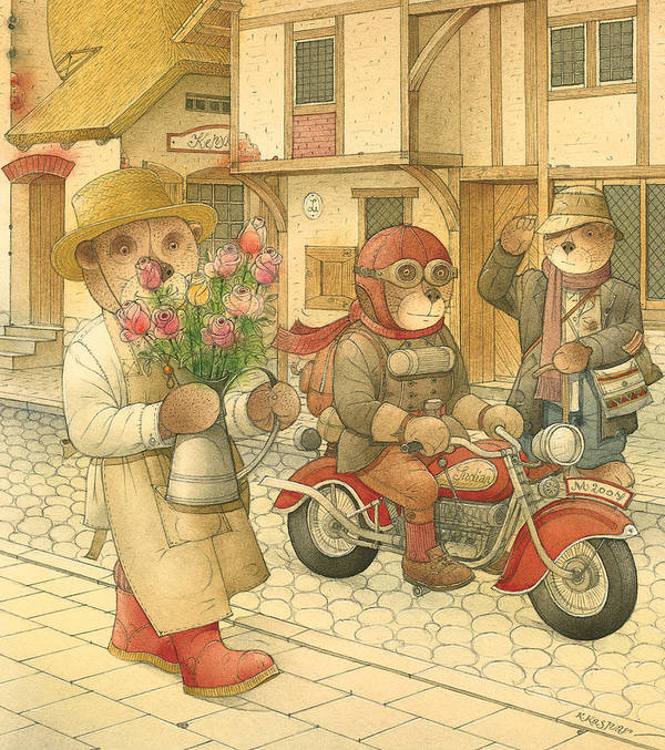 Love Bears Bike Town Flowers Roses Poster featuring the painting Florentius The Gardener06 by Kestutis Kasparavicius