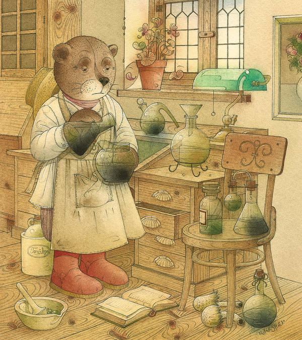 Bears Magic Glamour Brown Poster featuring the painting Florentius The Gardener18 by Kestutis Kasparavicius