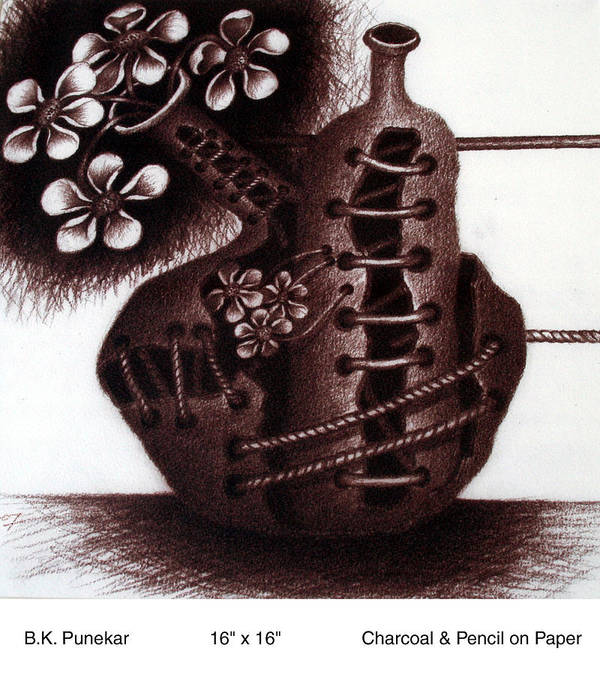 Poster featuring the drawing Flower Pot by Bhiva Punekar