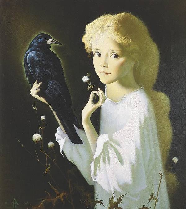 Portrait Poster featuring the painting Girl And Bird by Andrej Vystropov