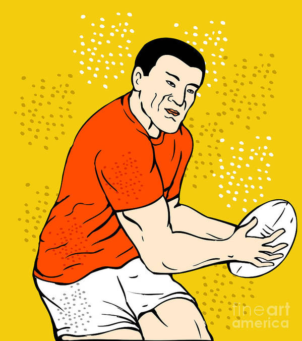 Rugby Poster featuring the digital art Japanese Rugby Player Passing Ball by Aloysius Patrimonio