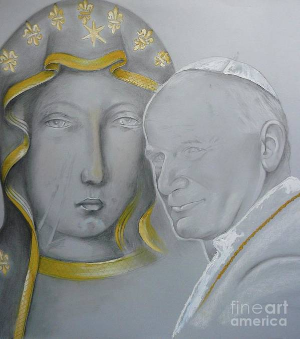Wojtyla Poster featuring the painting Madonna Nera E Giovanni Paolo II by Isabell Von Piotrowski