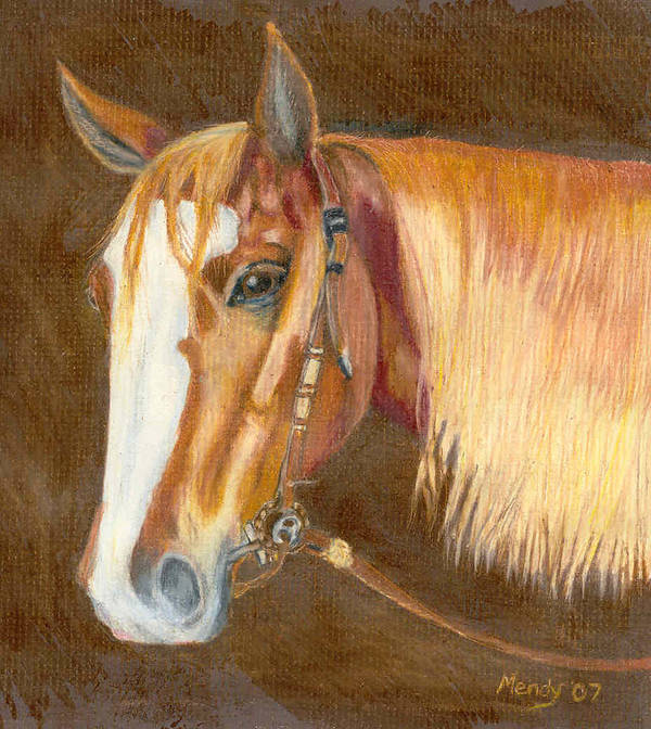 Horse Poster featuring the pastel Miss Cow Chex by Mendy Pedersen